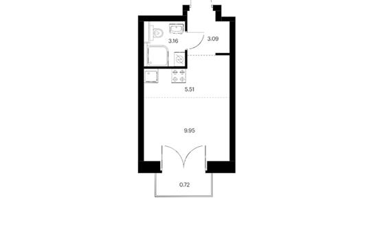 Студия, 22.43 м2, 14 этаж