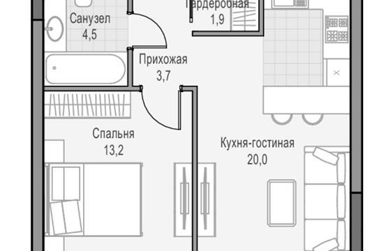 1-комн квартира, 41 м<sup>2</sup>, 2 этаж_1