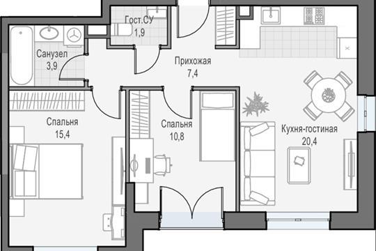 2-комн квартира, 59.7 м2, 24 этаж