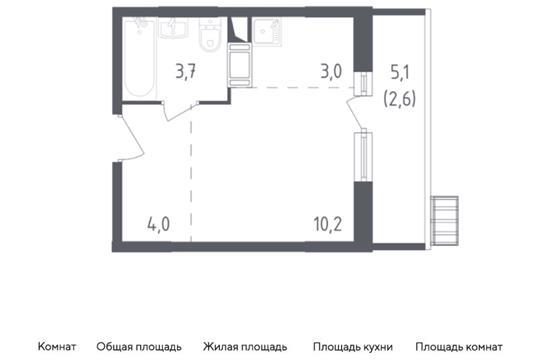Студия, 23.5 м2, 13 этаж