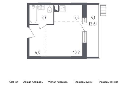 Студия, 23.9 м2, 2 этаж