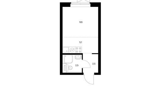 Студия, 19.7 м2, 5 этаж