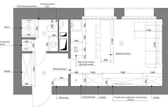 Студия, 22 м2, 1 этаж