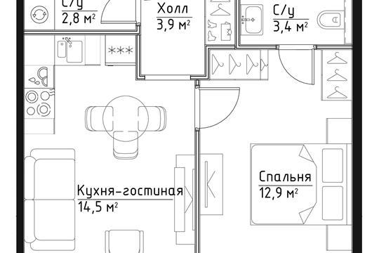 1-комн квартира, 37.5 м<sup>2</sup>, 4 этаж_1