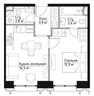 1-комн квартира, 37.5 м2, 5 этаж - фото 1