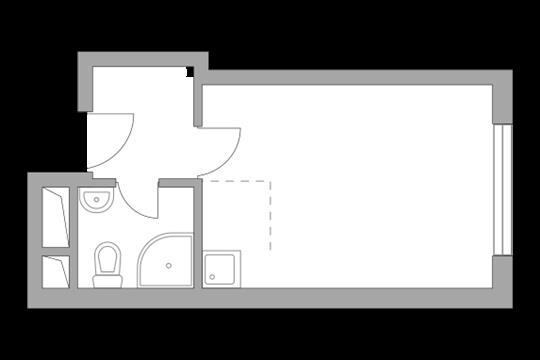 Студия, 20.96 м2, 3 этаж
