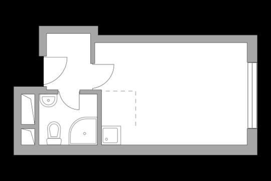Студия, 21.44 м2, 15 этаж