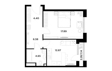 1-комн квартира, 47.53 м2, 14 этаж