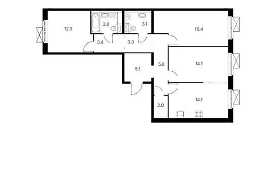 3-комн квартира, 83.4 м<sup>2</sup>, 12 этаж_1
