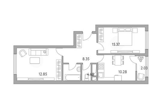 2-комн квартира, 53.56 м2, 15 этаж