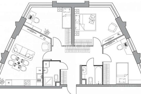 3-комн квартира, 83.4 м2, 15 этаж