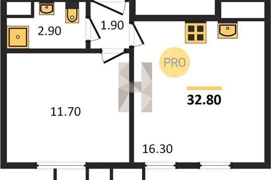 1-комн квартира, 32 м<sup>2</sup>, 3 этаж_1