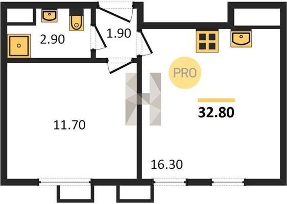 1-комн квартира, 32 м2, 3 этаж - фото 1