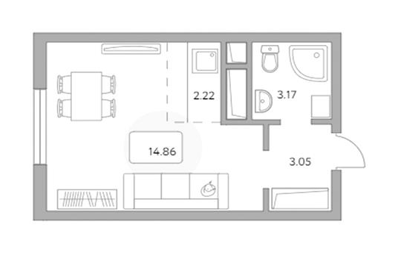 Студия, 23.3 м<sup>2</sup>, 10 этаж_1
