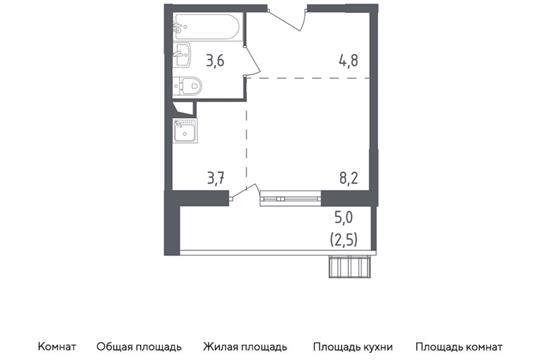 Студия, 22.4 м2, 6 этаж