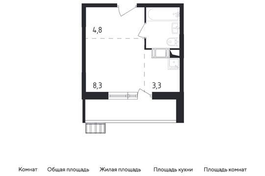 Студия, 22.5 м2, 6 этаж