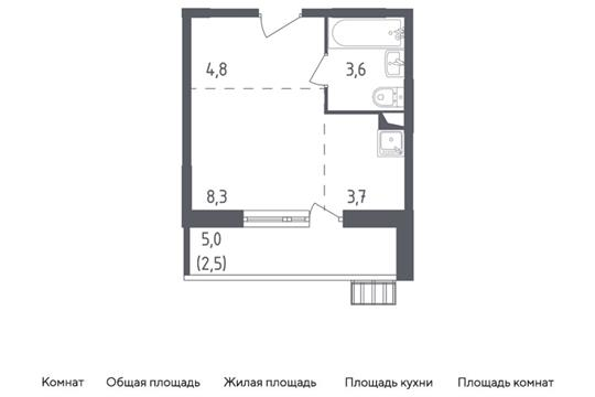 Студия, 22.9 м2, 2 этаж