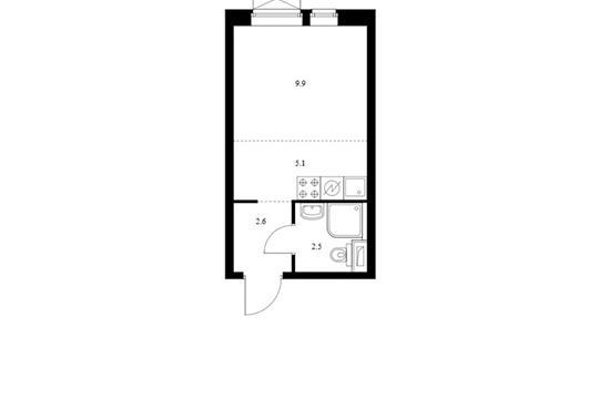 Студия, 20.1 м2, 19 этаж