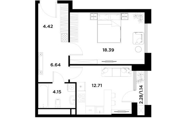 1-комн квартира, 47.45 м2, 19 этаж