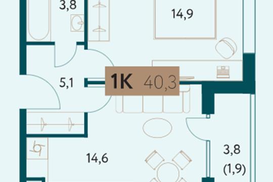 1-комн квартира, 42.9 м2, 13 этаж