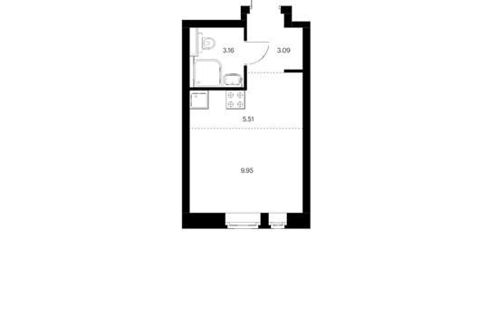 Студия, 21.71 м2, 2 этаж