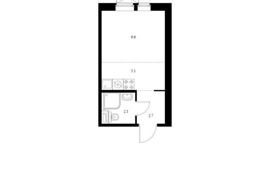Студия, 19.9 м2, 9 этаж