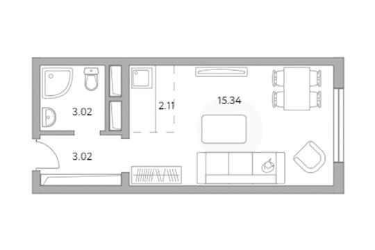 Студия, 23.49 м2, 1 этаж