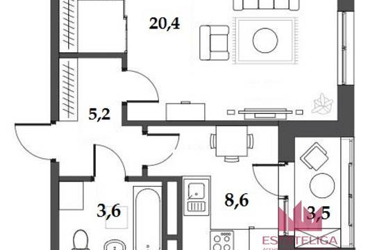 1-комн квартира, 41.3 м2, 7 этаж