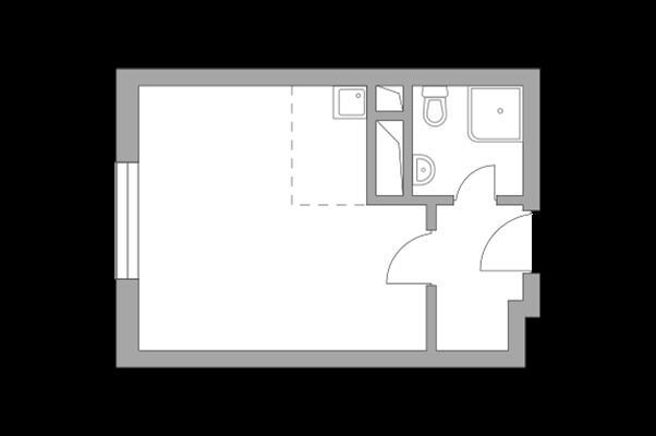 Студия, 23.47 м2, 9 этаж - фото 1