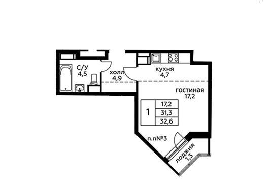 Студия, 32.6 м2, 20 этаж