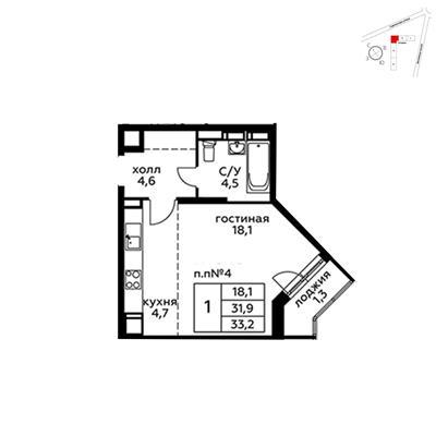 Студия, 33.2 м2, 21 этаж - фото 1