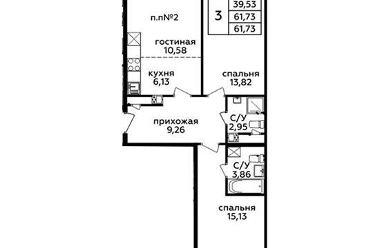 3-комн квартира, 61.7 м<sup>2</sup>, 21 этаж_1