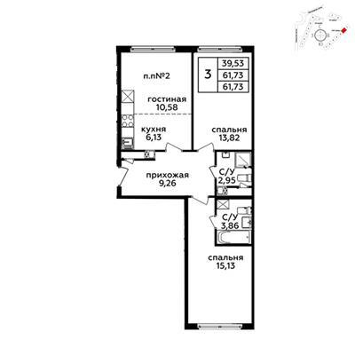 3-комн квартира, 61.5 м2, 19 этаж - фото 1