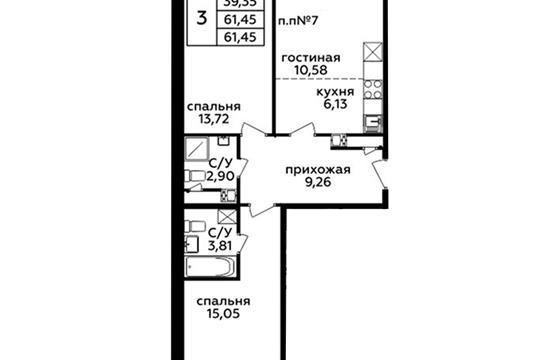 3-комн квартира, 61.3 м<sup>2</sup>, 21 этаж_1