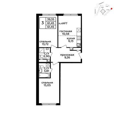 3-комн квартира, 61.3 м2, 21 этаж - фото 1