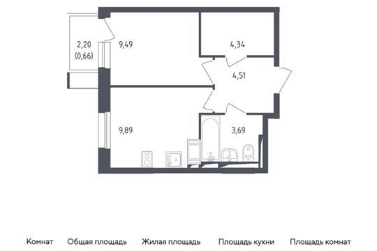 1-комн квартира, 32.58 м2, 6 этаж