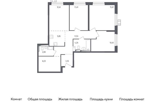 4-комн квартира, 86.53 м2, 6 этаж