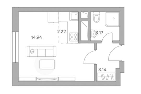 Студия, 23.47 м<sup>2</sup>, 11 этаж_1