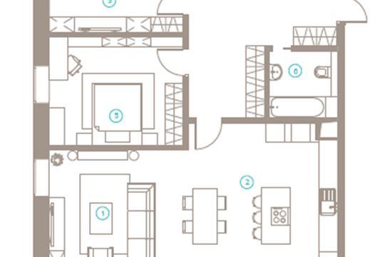 3-комн квартира, 103 м2, 6 этаж