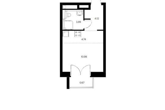 Студия, 24.4 м2, 6 этаж