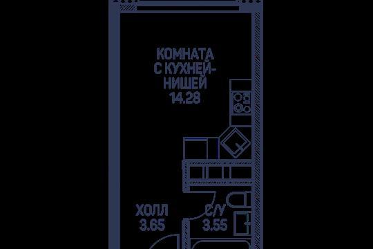 Студия, 21.5 м2, 6 этаж