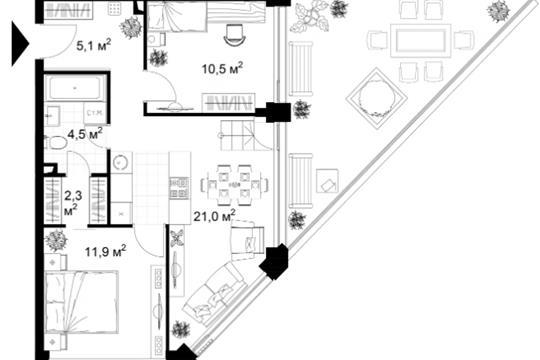 2-комн квартира, 47 м2, 3 этаж