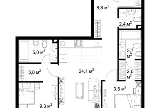 2-комн квартира, 69.2 м2, 4 этаж