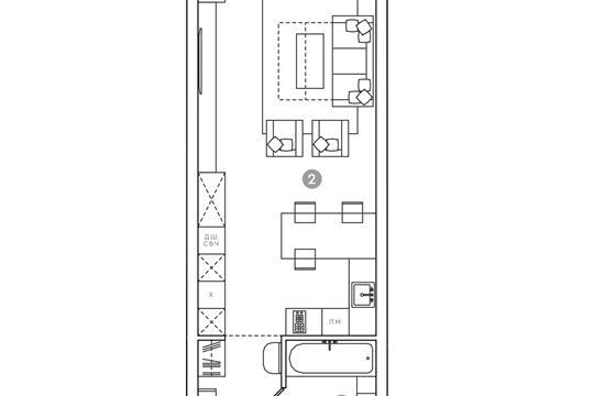 Студия, 44.62 м2, 6 этаж
