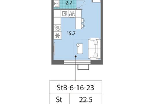 Студия, 22.5 м2, 18 этаж