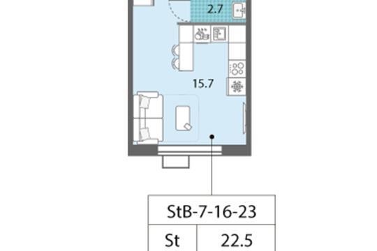Студия, 22.5 м2, 19 этаж