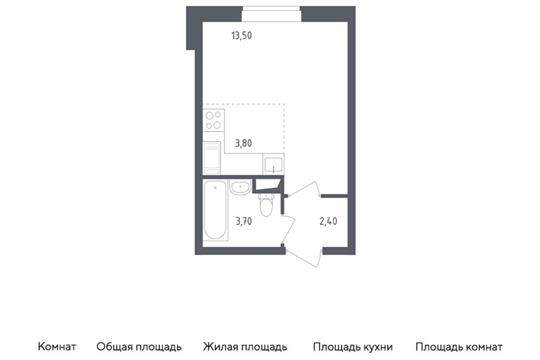 1-комн квартира, 23.4 м2, 8 этаж