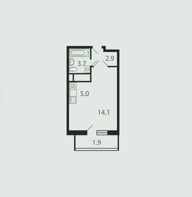 Студия, 27.5 м2, 24 этаж - фото 1