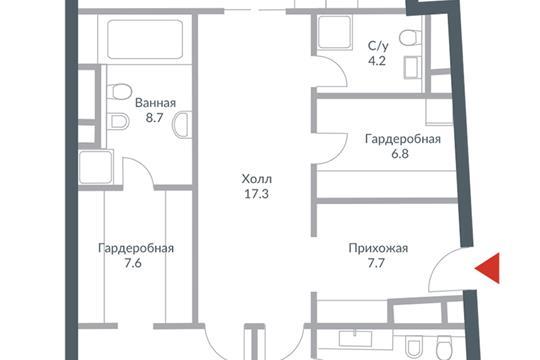 3-комн квартира, 167.5 м2, 6 этаж
