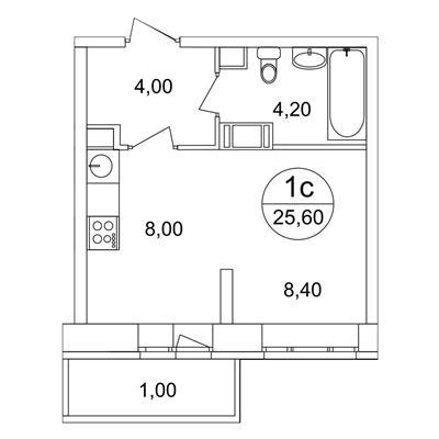 1-комн квартира, 25.6 м2, 13 этаж - фото 1